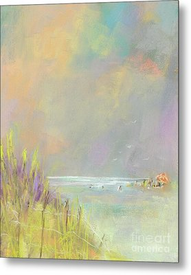 Metal Print featuring the painting A Day At The Beach by Frances Marino
