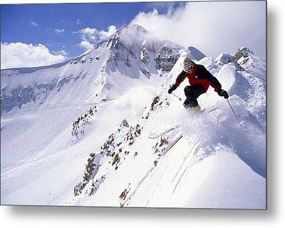 A Downhill Skier Launching Metal Print