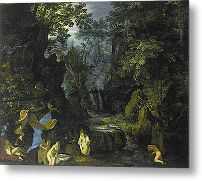 A Forest Landscape With Bathing Nymphs And Leda And The Swan Metal Print by Roelandt Savery