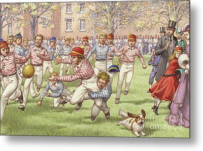 A Game Of Rugby Football Being Played At Rugby School Metal Print