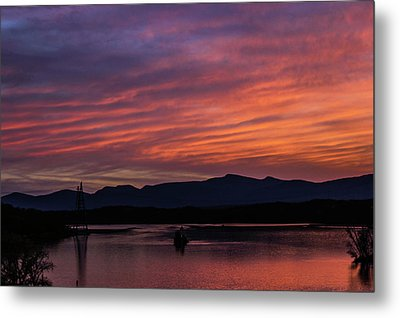 A Glowing Sunset Over The Catskill Mountains Metal Print