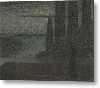A Hooded Figure In A Landscape Metal Print