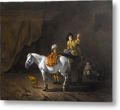 A Horseman Holding A Roemer Of Wine With An Ostler Tending The Horses Metal Print