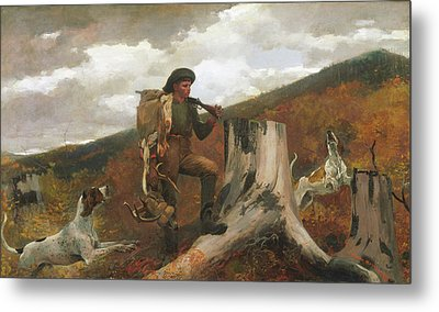 Metal Print featuring the painting A Huntsman And Dogs - 1891 by Winslow Homer