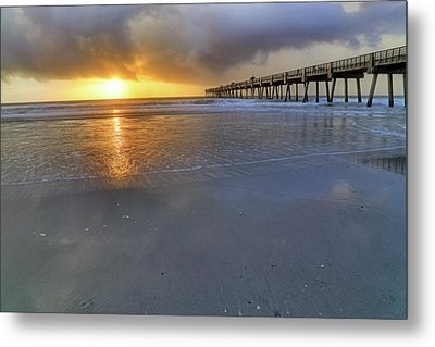 A Jacksonville Beach Sunrise - Florida - Ocean - Pier  Metal Print by Jason Politte