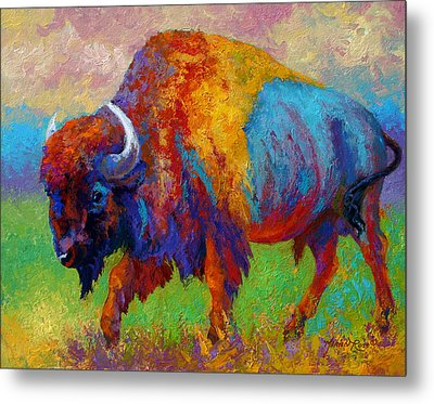 A Journey Still Unknown - Bison Metal Print by Marion Rose