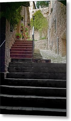 A Long Climb Up Tuscan Steps Metal Print by Michael Flood