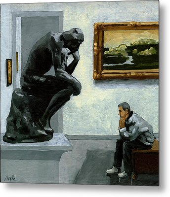 A Lot To Think About - Oil Painting Metal Print