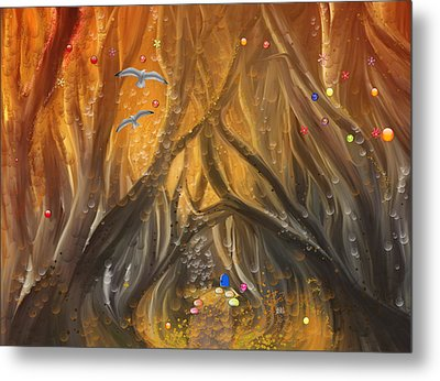 A Magical Dream In A Forest Metal Print by Angela A Stanton