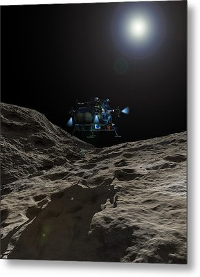 A Manned Asteroid Lander Approaches Metal Print by Walter Myers
