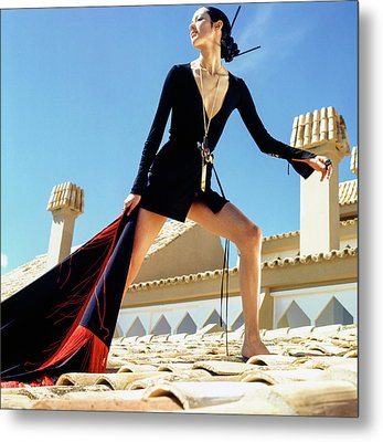 A Model On A Rooftop In A Dress By Paraphernalia Metal Print