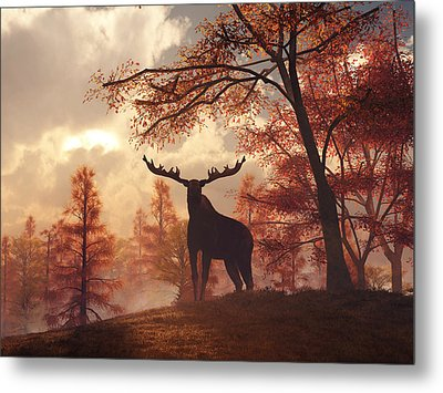 A Moose In Fall Metal Print by Daniel Eskridge