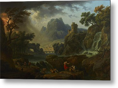 A Mountain Landscape With An Approaching Storm Metal Print by Claude-Joseph Vernet
