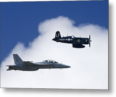 A Navy F-18 And A Wwii Vintage F4u Metal Print by Medford Taylor