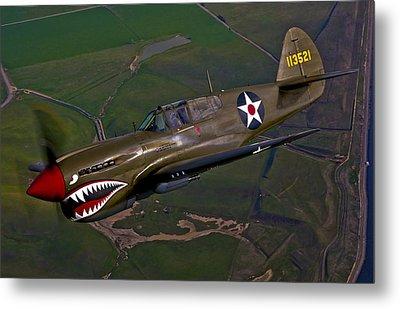 A P-40e Warhawk In Flight Metal Print by Scott Germain