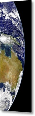 A Partial View Of Earth Showing Metal Print by Stocktrek Images