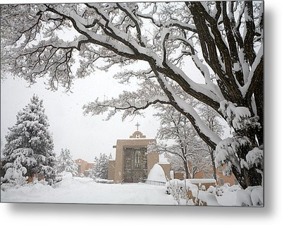 A Peaceful Winter Scene Metal Print by Ralph Lee Hopkins