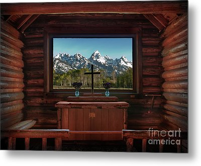 A Pew With A View Metal Print by Sandra Bronstein