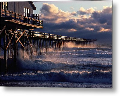 A Pier At Nags Head Is Pounded By Early Metal Print by David Alan Harvey