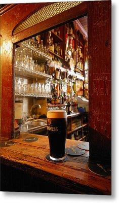 A Pint Of Dark Beer Sits In A Pub Metal Print