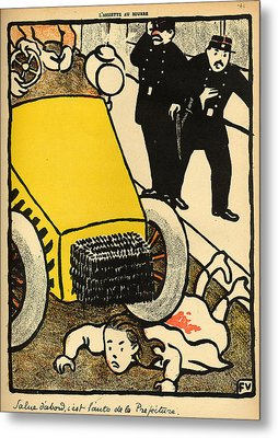A Police Car Runs Over A Little Girl Metal Print by Felix Edouard Vallotton