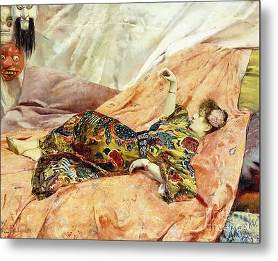 A Portrait Of Sarah Bernhardt, Reclining In A Chinese Interior  Metal Print