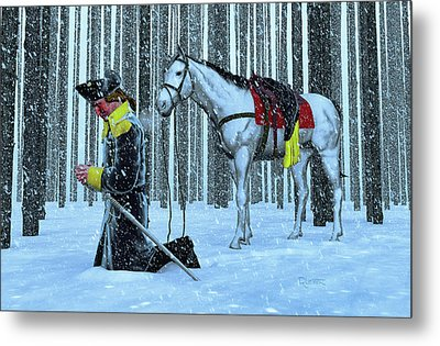 A Prayer In The Snow Metal Print by Dave Luebbert