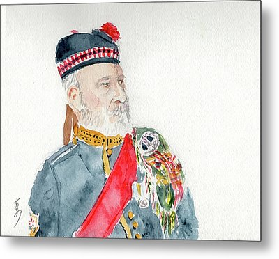 Metal Print featuring the painting A Scottish Soldier by Yoshiko Mishina