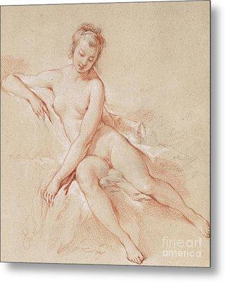 A Seated Female Nude  Metal Print