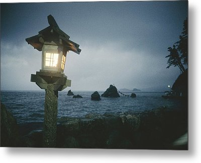 A Small Wooden Lantern Looks Metal Print by Luis Marden