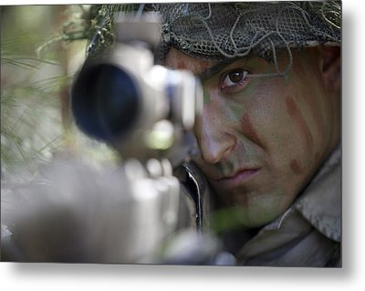 A Sniper Sights In On A Target Metal Print by Stocktrek Images