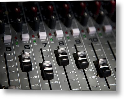 A Sound Mixing Board, Close-up, Full Frame Metal Print by Tobias Titz