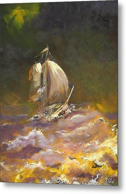 A Stormy Night At Sea Metal Print by Dan Whittemore