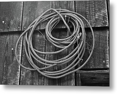 A Study Of Wire In Gray Metal Print by Douglas Barnett