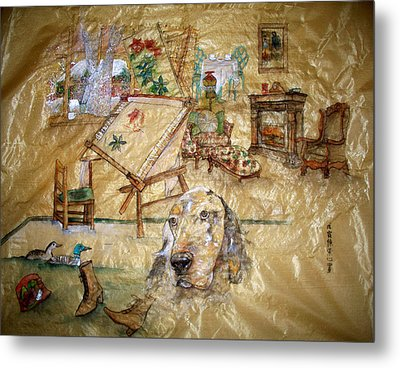 Metal Print featuring the painting A Time Gone By by Debbi Saccomanno Chan