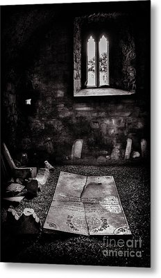 Metal Print featuring the photograph A Tombstone In Sligo Abbey Bw by RicardMN Photography