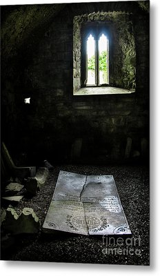 Metal Print featuring the photograph A Tombstone In Sligo Abbey by RicardMN Photography