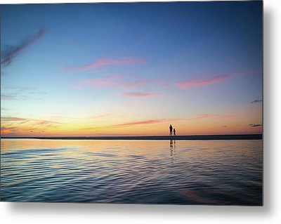 A Twilight Beach Walk Metal Print