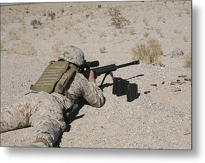 A U.s. Marine Zeros His M107 Sniper Metal Print by Stocktrek Images