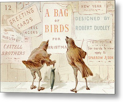 A Victorian Christmas Card Of Two Birds Looking At A Poster Of A Bag Of Birds For Christmas Metal Print