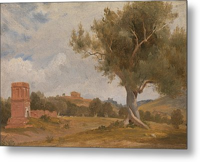 A View At Girgenti In Sicily With The Temple Of Concord And Juno Metal Print