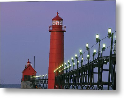 A View Of The Grand Haven Lighthouse Metal Print by Ira Block