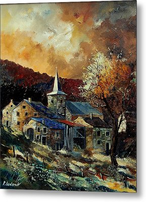 A Village In Autumn Metal Print by Pol Ledent