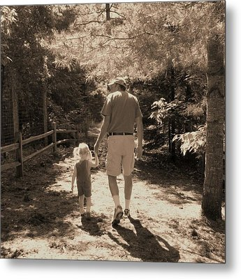 A Walk With Papa Metal Print by Laurianne Nash