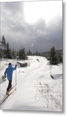 A Woman Cross Country Skiing Metal Print by Skip Brown