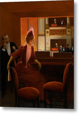 A Young Woman At The Opera Metal Print