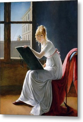 A Young Woman Drawing  Metal Print