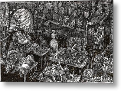 Metal Print featuring the drawing Aaron Finds Duryano by Al Goldfarb