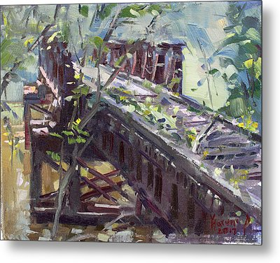 Abandoned Railroad Bridge In Tonawanda Metal Print