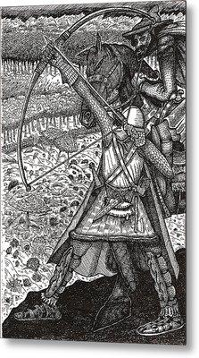 Metal Print featuring the drawing Abbadon Takes Aim by Al Goldfarb